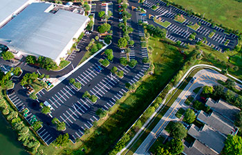 aerial view of well-maintained parking lot